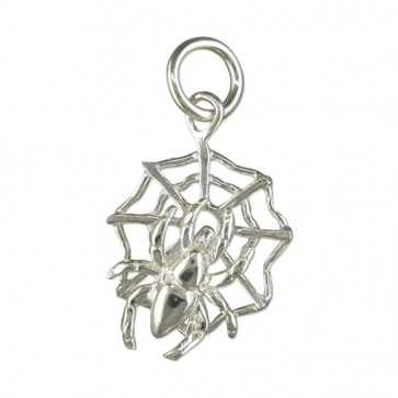 Sterling Silver Spider On A Web Pendant On A Snake Necklace