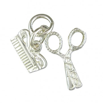 Children's Sterling Silver Scissors And Comb Pendant On A Curb Necklace