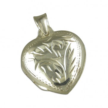 Children's Sterling Silver Medium Domed Heart Locket On A Curb Necklace