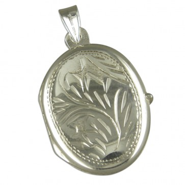 Men's Sterling Silver Medium Engraved Oval Locket On A Black Leather Cord Necklace