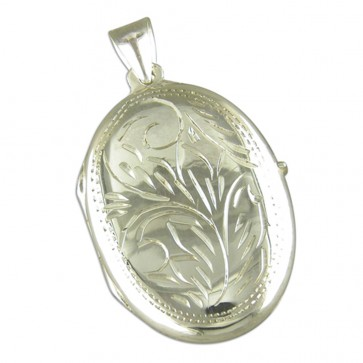 Children's Sterling Silver Large Engraved Oval Locket On A Curb Necklace