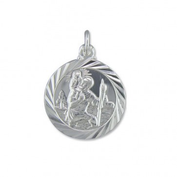 Children's Sterling Silver Medium Double Sided Travel Design St Christopher Pendant On A Curb Necklace