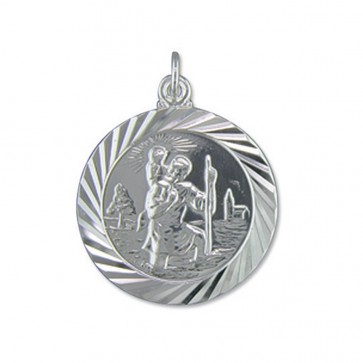 Sterling Silver Large Double Sided Travel Design St Christopher Pendant On A Snake Necklace