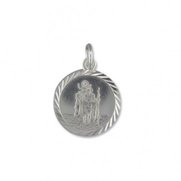 Sterling Silver Medium Diamond Cut Round St Christopher Pendant On A Snake Necklace