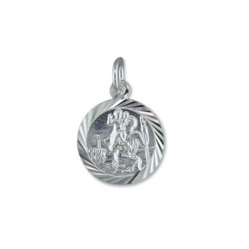Men's Sterling Silver Round Diamond Cut St Christopher Pendant On A Black Leather Cord Necklace