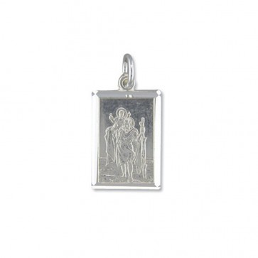 Men's Sterling Silver Medium Diamond Cut Oblong St Christopher Pendant On A Black Leather Cord Necklace