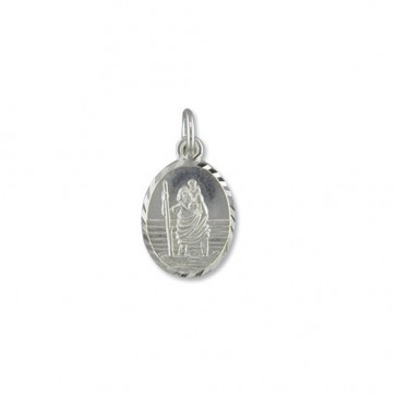 Men's Sterling Silver Medium Diamond Cut Oval St Christopher Pendant On A Black Leather Cord Necklace