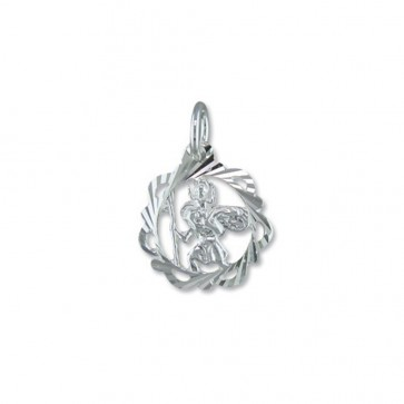 Children's Sterling Silver Fancy Open Diamond Cut St Christopher Pendant On A Curb Necklace