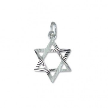 Men's Sterling Silver Star Of David Pendant On A Black Leather Cord Necklace