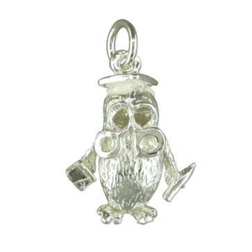 Children's Sterling Silver Owl Pendant On A Curb Necklace