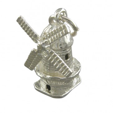 Sterling Silver Windmill Pendant On A Snake Necklace
