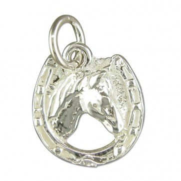 Men's Sterling Silver Horse Head Pendant On A Black Leather Cord Necklace