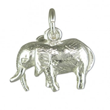 Children's Sterling Silver Elephant Pendant On A Curb Necklace