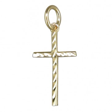 Men's 9ct Gold Medium Diamond-Cut Cross Pendant On A Curb Necklace