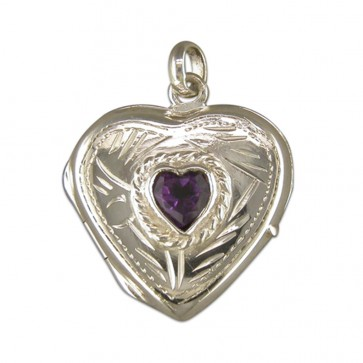 Men's Sterling Silver Amethyst Set Large Heart Locket On A Black Leather Cord Necklace
