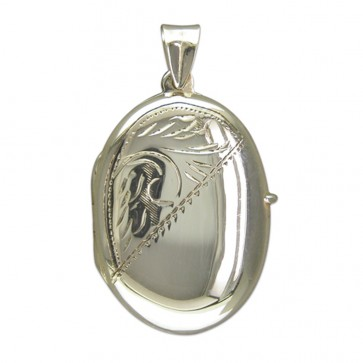 Children's Sterling Silver Large Half Engraved Oval Locket On A Curb Necklace