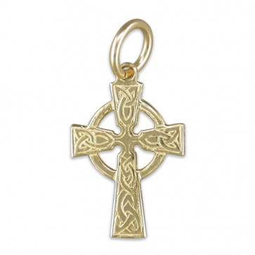 Children's 9ct Gold Small Celtic Cross Pendant On A Prince of Wales Necklace