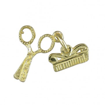 Children's 9ct Gold Scissors And Comb Pendant On A Prince of Wales Necklace