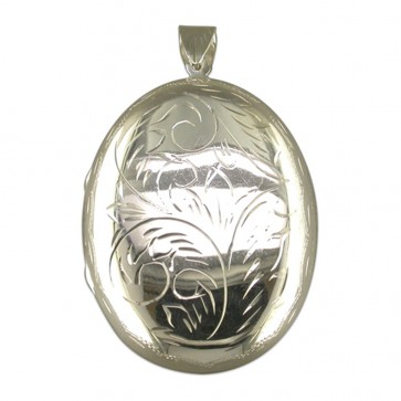 Men's Sterling Silver Extra Large Engraved Flat Oval Locket On A Black Leather Cord Necklace
