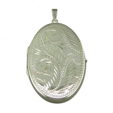 Sterling Silver Large Engraved Flat Oval Locket On A Snake Necklace