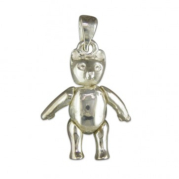 Children's Sterling Silver Small Plain Teddy Bear Pendant On A Curb Necklace