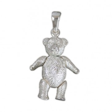 Men's Sterling Silver Medium Teddy Bear Pendant On A Black Leather Cord Necklace