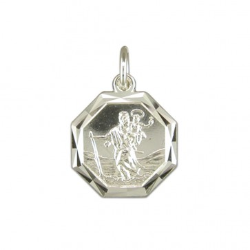 Men's Sterling Silver Diamond Cut Octagonal St Christopher Pendant On A Black Leather Cord Necklace