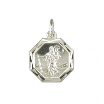 Sterling Silver Diamond Cut Octagonal St Christopher Pendant On A Snake Necklace