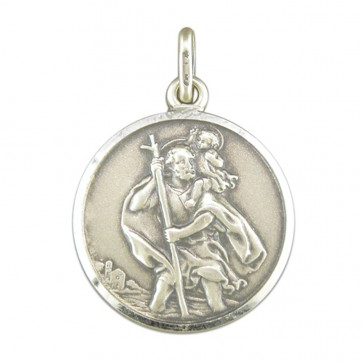 Men's Sterling Silver Large Antique Finish St Christopher Pendant On A Black Leather Cord Necklace