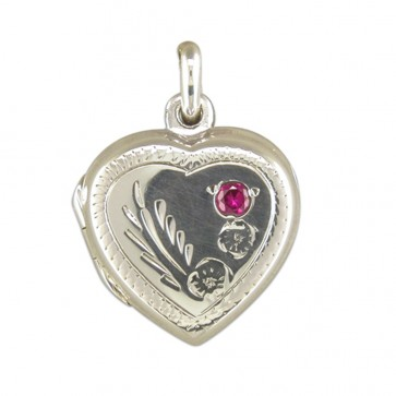 Children's Sterling Silver Engraved Heart With Red Stone Locket On A Curb Necklace