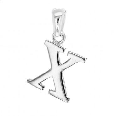 Children's Solid Sterling Silver Letter X Initial Pendant On A Curb Necklace