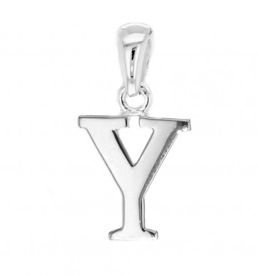 Children's Solid Sterling Silver Letter Y Initial Pendant On A Curb Necklace