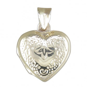 Children's Sterling Silver Engraved Heart Locket On A Curb Necklace