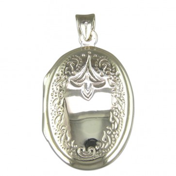 Sterling Silver Engraved Oval Locket On A Snake Necklace
