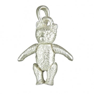 Children's Sterling Silver Small Teddy Bear Pendant On A Curb Necklace
