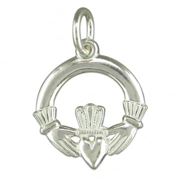 Men's Sterling Silver Claddagh Pendant On A Black Leather Cord Necklace