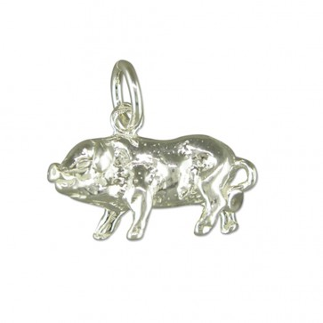 Sterling Silver Pig Pendant On A Snake Necklace