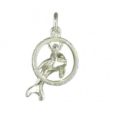Sterling Silver Dolphin Pendant On A Snake Necklace