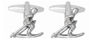 Novelty Skier On Skis Cufflinks