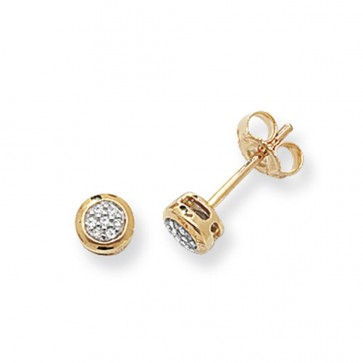 9ct Yellow Gold 0.06ct Diamond Round Stud Earrings