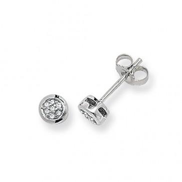 9ct White Gold 0.06ct Diamond Round Stud Earrings
