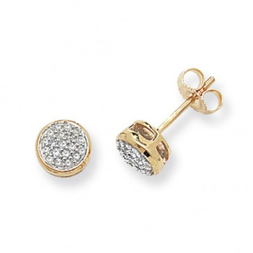 9ct Yellow Gold 0.16ct Diamond Round Stud Earrings