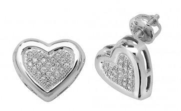 9ct White Gold 0.13ct Diamond Heart Stud Earrings