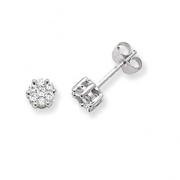 9ct White Gold 0.33ct Diamond Round Illusion Set Stud Earrings