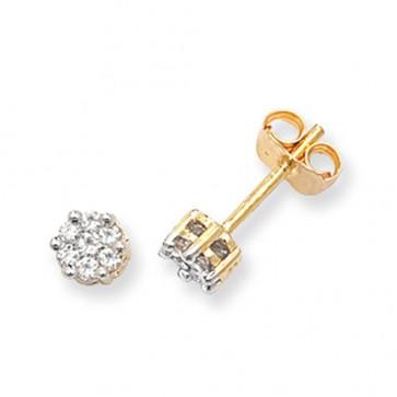9ct Yellow Gold 0.25ct Diamond Round Illusion Set Stud Earrings