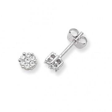 9ct White Gold 0.25ct Diamond Round Illusion Set Stud Earrings