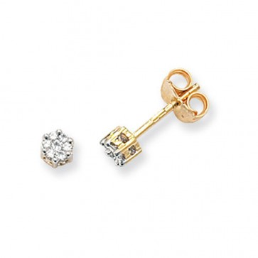 9ct Yellow Gold 0.12ct Diamond Round Illusion Set Stud Earrings