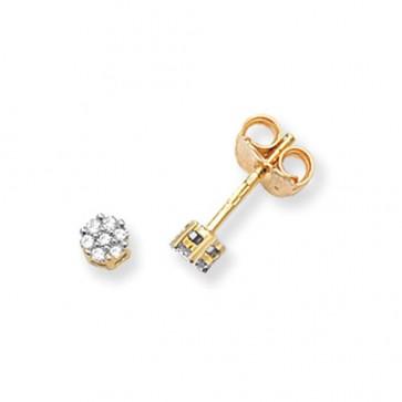 9ct Yellow Gold 0.07ct Diamond Round Illusion Set Stud Earrings