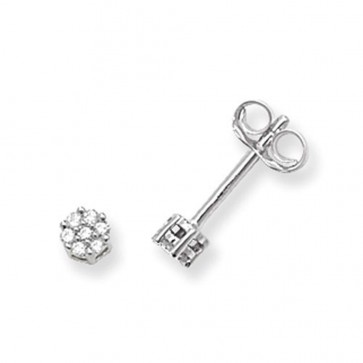 9ct White Gold 0.07ct Diamond Round Illusion Set Stud Earrings