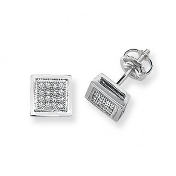 9ct White Gold 0.13ct Diamond Square Stud Earrings